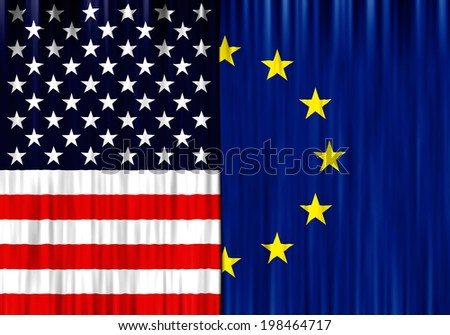 Flags of United States of America and European Union depicted as closed curtain in one piece