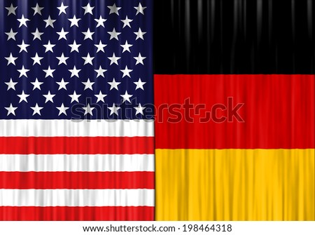 Flags of United States of America and Germany  depicted as closed curtain - stock photo
