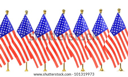 Flags of  US hanging on the gold flagpole,Isolated on the white background