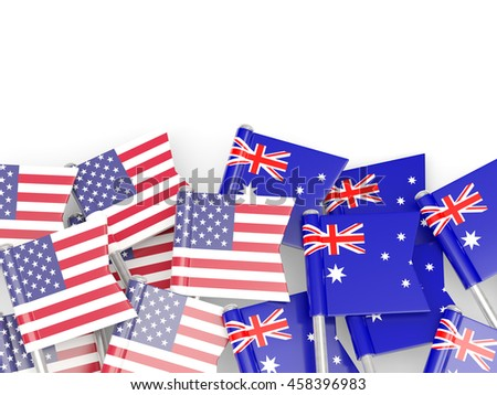 Flags of USA and Australia  isolated on white. 3D illustration