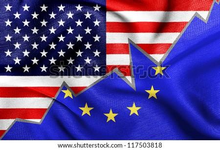 Flags of USA and European Union - stock photo