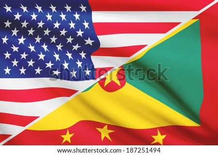 Flags of USA and Grenada blowing in the wind. Part of a series. - stock photo