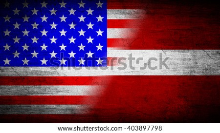 Flags of USA and Latvia divided diagonally
