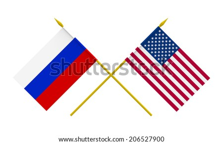 Flags of USA and Russia, 3d render, isolated - stock photo