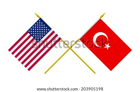 Flags of USA and Turkey, 3d render, isolated on white - stock photo