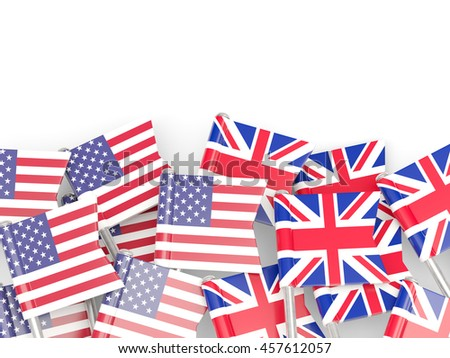 Flags of USA and UK  isolated on white. 3D illustration