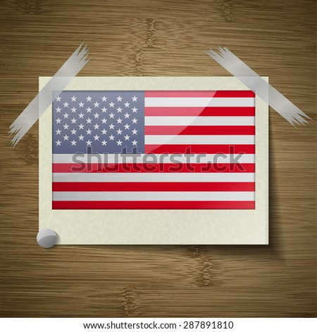 Flags of USA at frame on wooden texture.  illustration. Rastrized version - stock photo