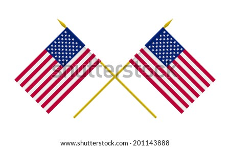 Flags of USA, 3d render, isolated on white