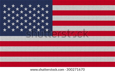 Flags of USA with abstract textures. Rasterized version - stock photo