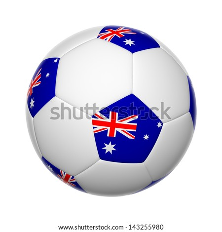Flags on soccer ball of Australia - stock photo