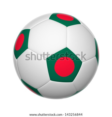 Flags on soccer ball of Bangladesh - stock photo