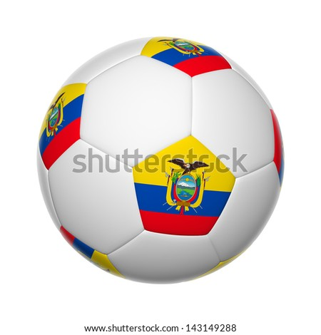 Flags on soccer ball of Ecuador - stock photo
