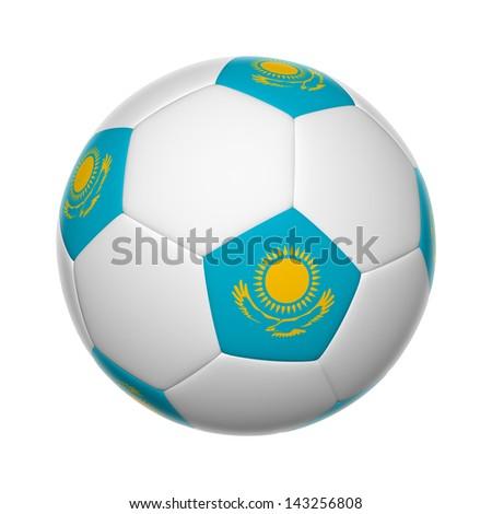 Flags on soccer ball of Kazakhstan - stock photo