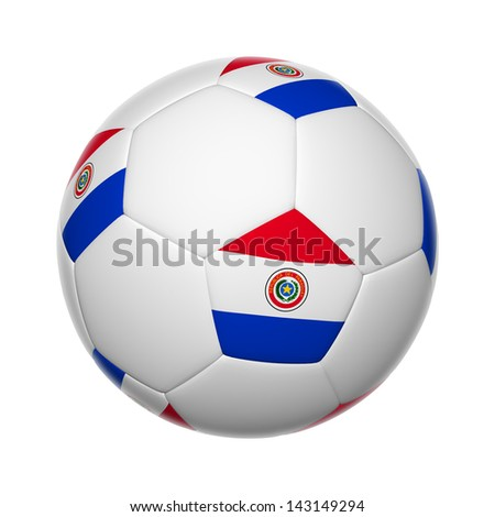 Flags on soccer ball of Paraguay - stock photo
