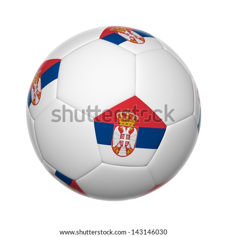 Flags on soccer ball of Serbia - stock photo