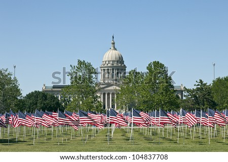Flags on the Field in Capital of Oklahoma City, USA - stock photo