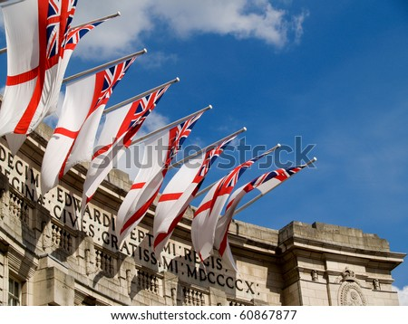 Flags over Admiralty Arch, london, UK.