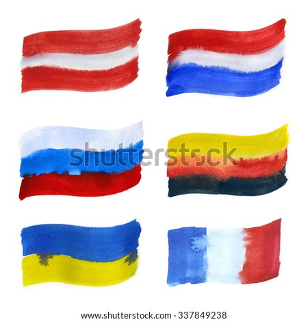 Flags painted with watercolors on white background - stock photo
