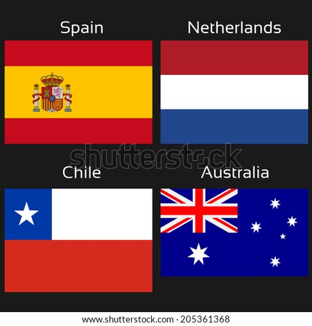 flags - Spain, Netherlands, Chile, Australia