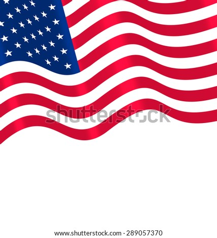 Flags USA Waving Wind and Ribbon for Independence Day 4th Patriotic Symbolic Vintage Decoration for Holiday or Celebration Backgrounds - raster - stock photo