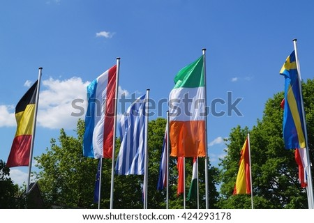 Flags waving in the wind