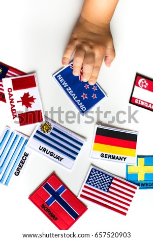 Flags with a baby hand