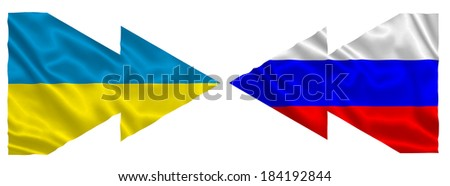 Flags with the pointers of Ukraine and Russia  - stock photo