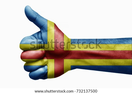 Flags written on hands aland islands, aland islands, Flag, aland islands counter, Hand with thumbs, yes symbol,
