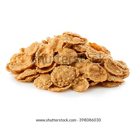 Flakes, breakfast cereal isolated on white background. Healthy breakfast. - stock photo