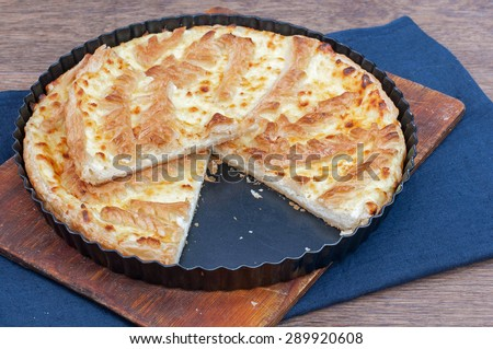 Flaky Cottage Cheese Pie Crust on wooden background - stock photo