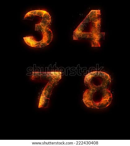 Flame alphabet - stock photo