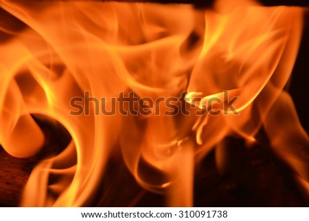 Flame background at the fireplace. Closeup view