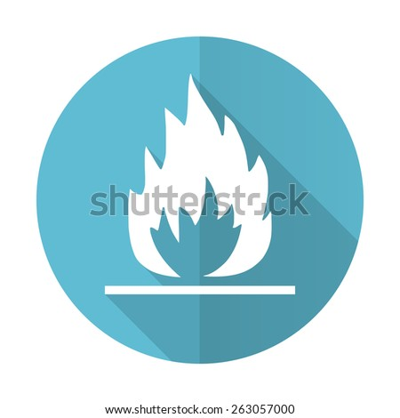 flame blue flat icon   - stock photo