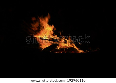 flame burning in the night, closeup of photo