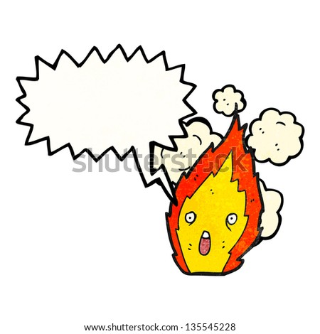 flame cartoon character with speech bubble