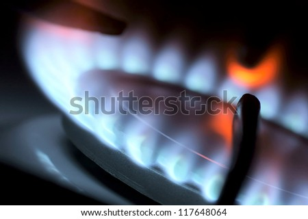 Flame from a gas stove abstractly. - stock photo