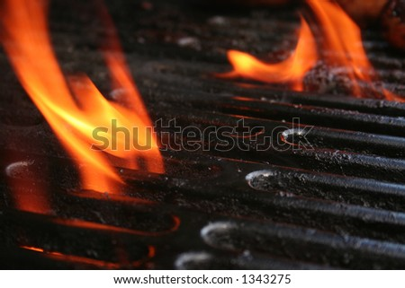 Flame from the gas grill - stock photo