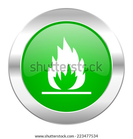 flame green circle chrome web icon isolated  - stock photo