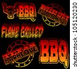 Flame grilled and BBQ rubber stamp illustrations - stock photo