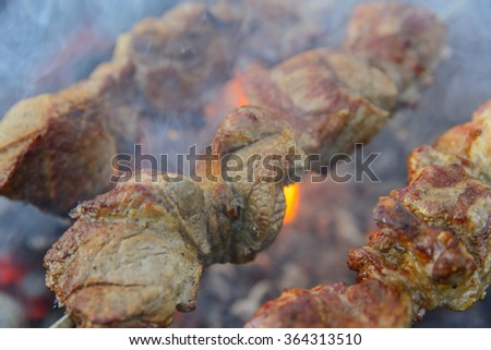 Flame grilled sirloin steak - stock photo