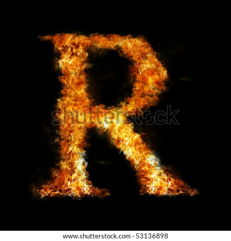 Flame in shape of letter R - stock photo