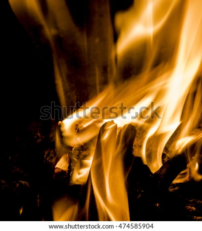flame of fire, bright background