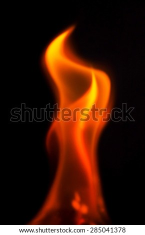 flame on black background - stock photo