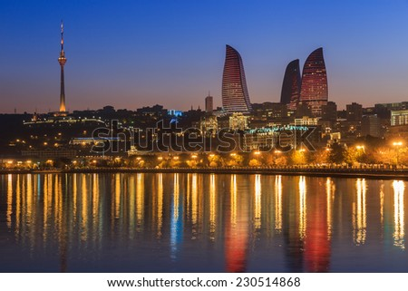 Flame Tower in Baku sunset buildings - stock photo