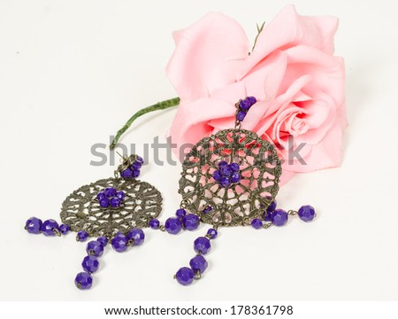 Flamenco comb fan and roses typical from Spain Espana - stock photo