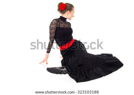 flamenco dancer girl with a red rose - stock photo