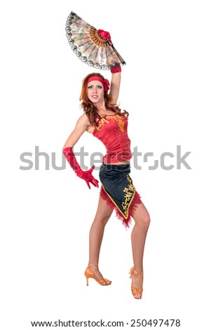 Flamenco dancer woman posing , isolated on white in full length - stock photo