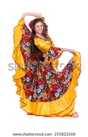 Flamenco dancer  woman posing, isolated on white in full length - stock photo
