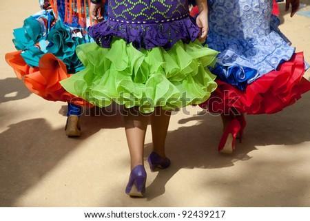 Flamenco dresses. - stock photo