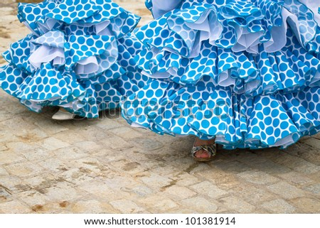 Flamenco dresses in Andalusia, Spain. - stock photo